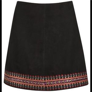 Muubaa Foster Embroidered Skirt in Black Suede